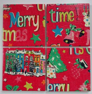 4 Ceramic Coasters in Cath Kidston It's Christmas Red